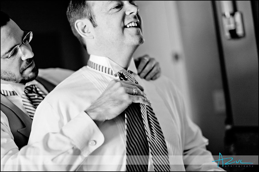 Groom getting ready Raleigh wedding photographer NC
