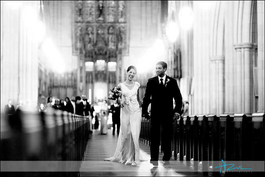 Classic wedding day ceremony image at Duke Chapel in Durham NC