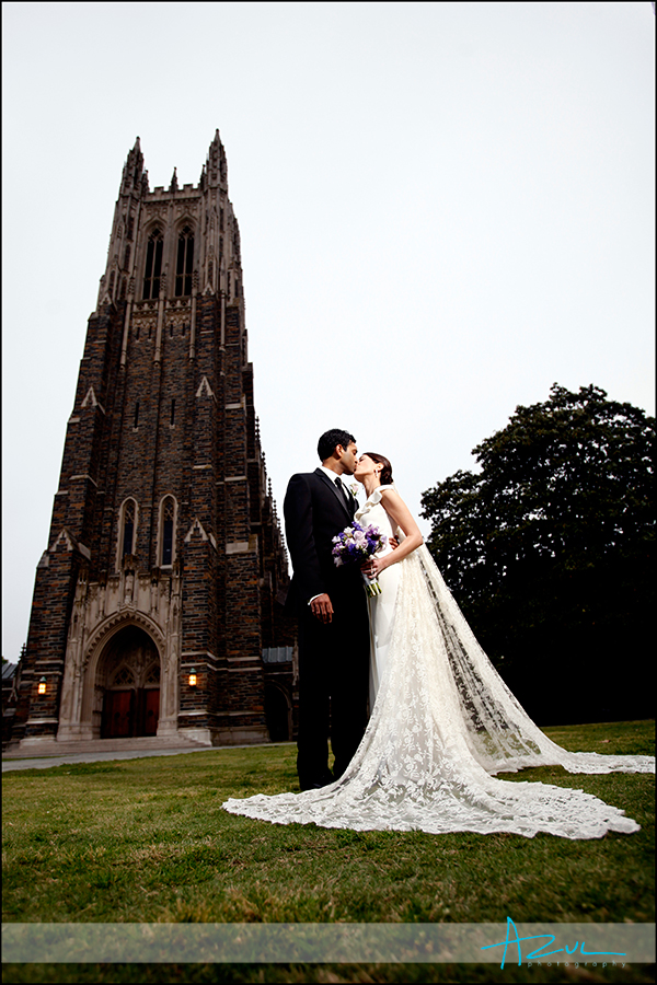 Creative wedding portrait after ceremony at Duke Chapel in Durham NC