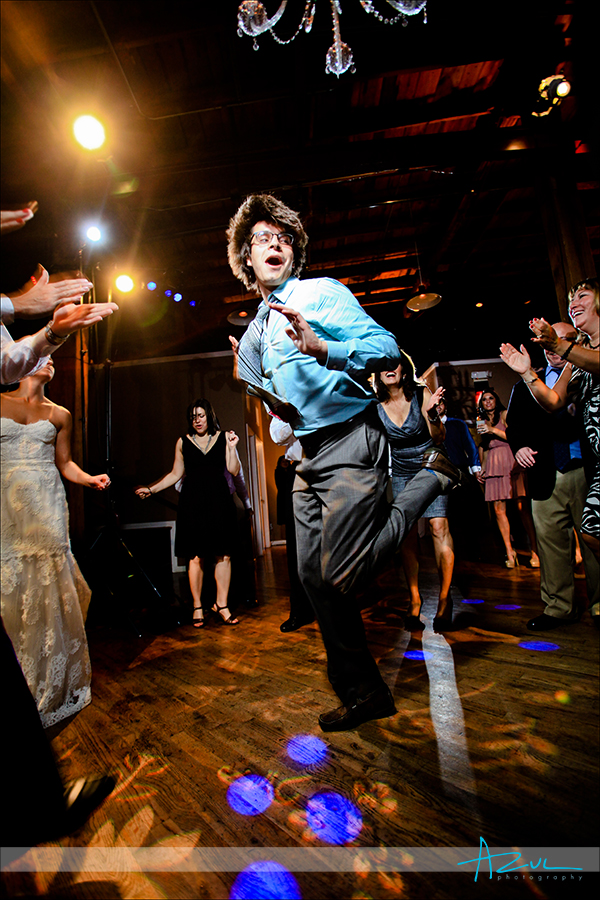 Guest get wild on the dance floor during wedding