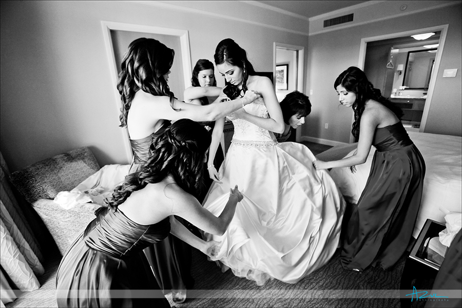 Photography of Bride getting ready at The Umstead Hotel venue for her wedding in Raleigh NC