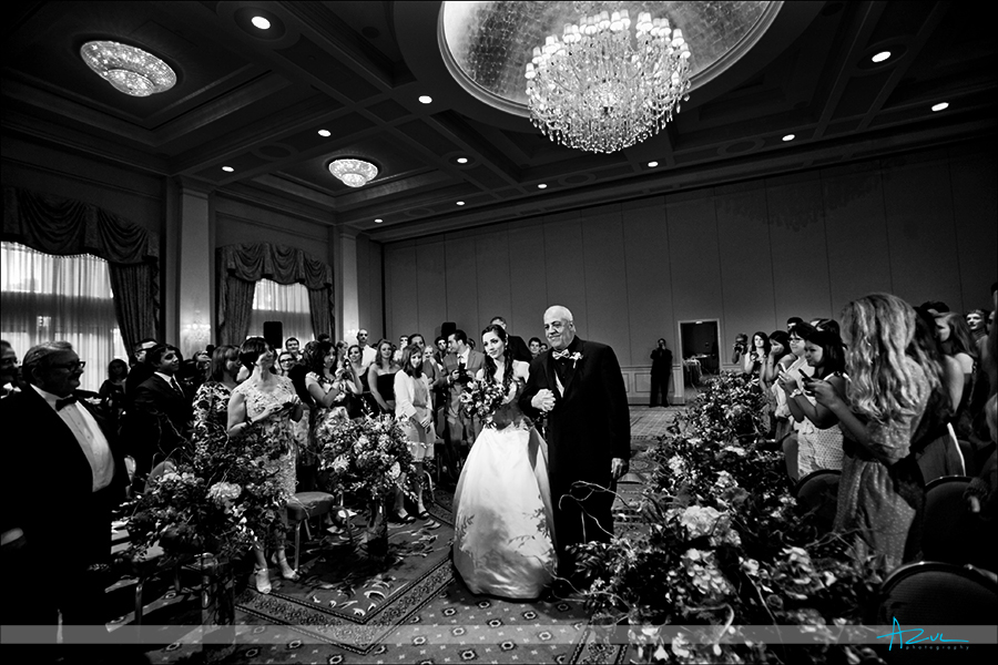 Wedding day ceremony photography at the ballroom of Prestonwood Country Club NC