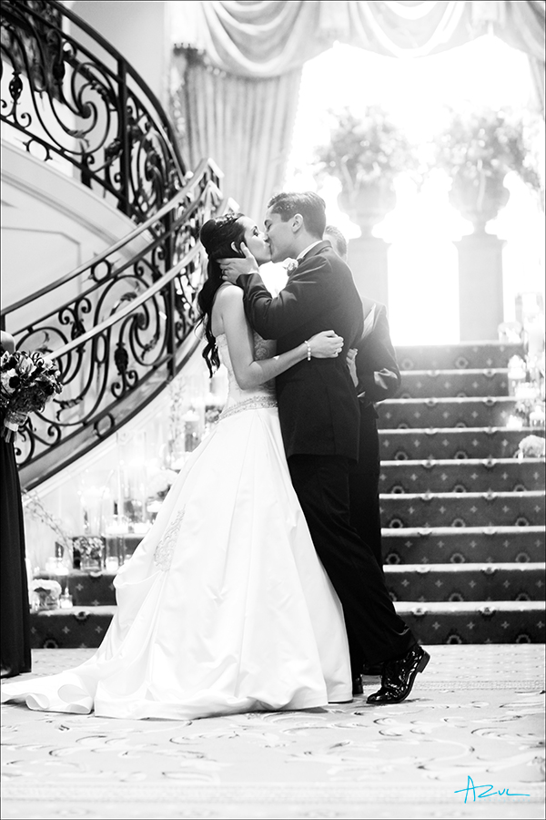 Best wedding ceremony kiss photography at Prestonwood CC in Cary NC