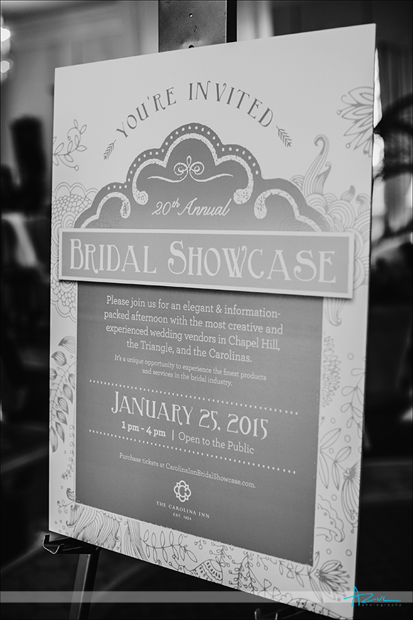 Wedding bridal showcase signs for invited brides in Chapel Hill NC