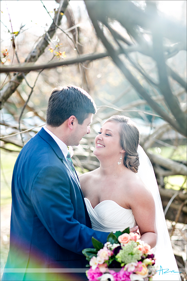 Perfectly lit wedding day portrait photographer of bride and groom at The Sutherland NC