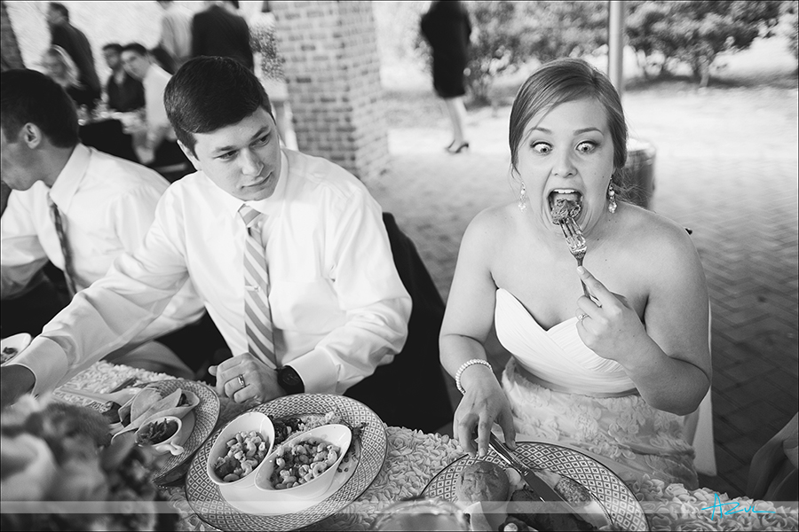 Funny wedding day photos of eating food on the big day NC