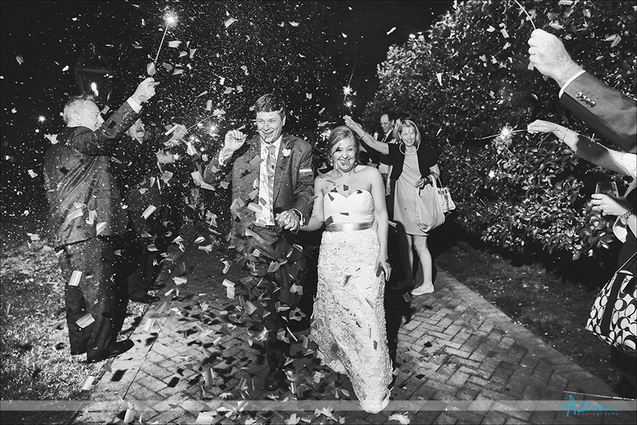 Perfect confetti, glow stick, sparkler exit of the bride and groom at The Sutherland NC