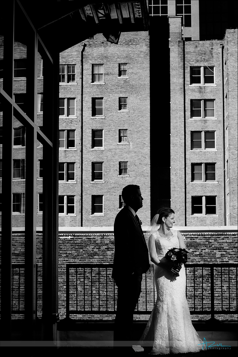 Unique wedding day portrait photography of bride and groom Raleigh, NC