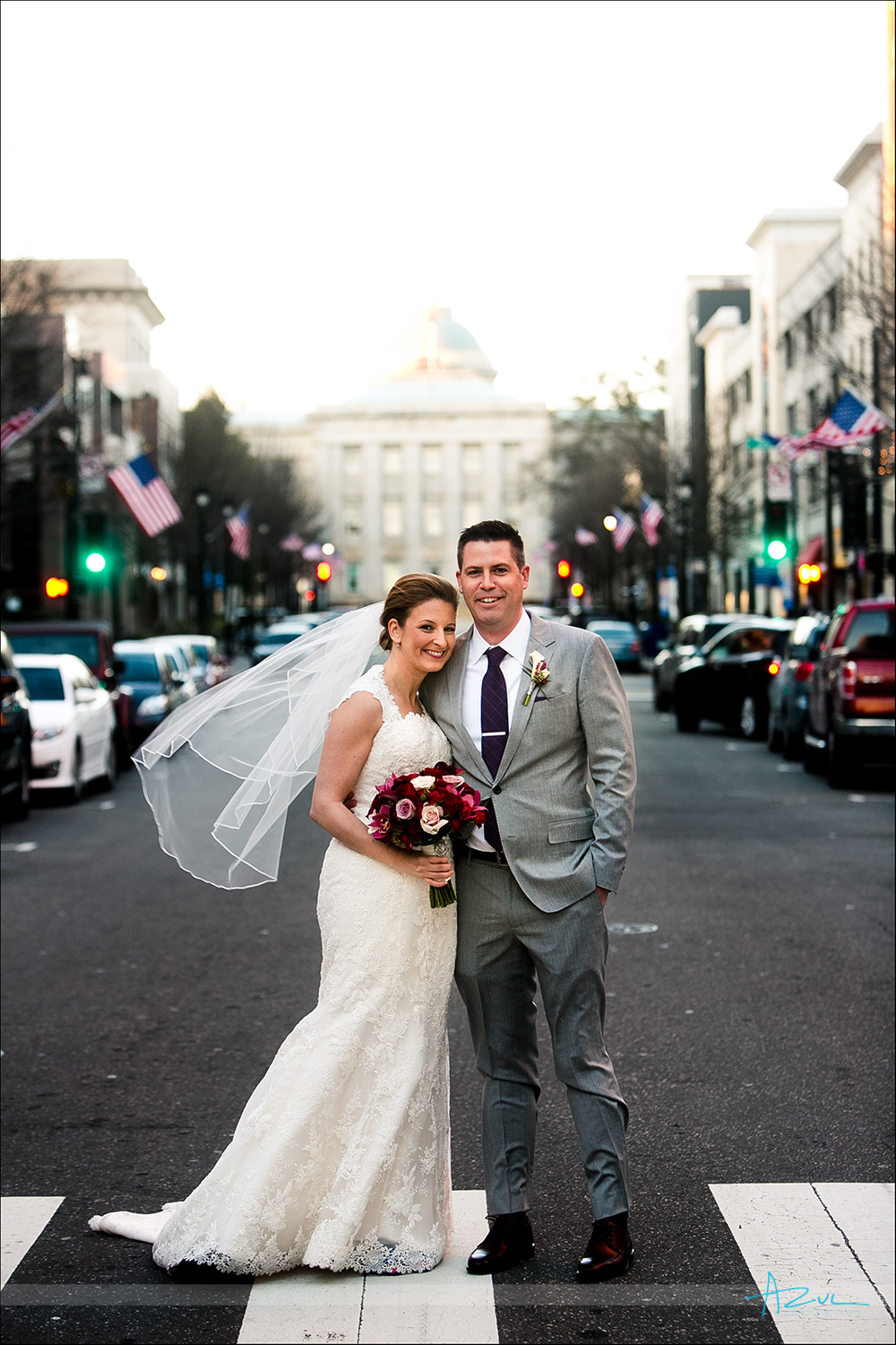 Wedding day B&G portrait photography on Fayetteville St in Raleigh, NC