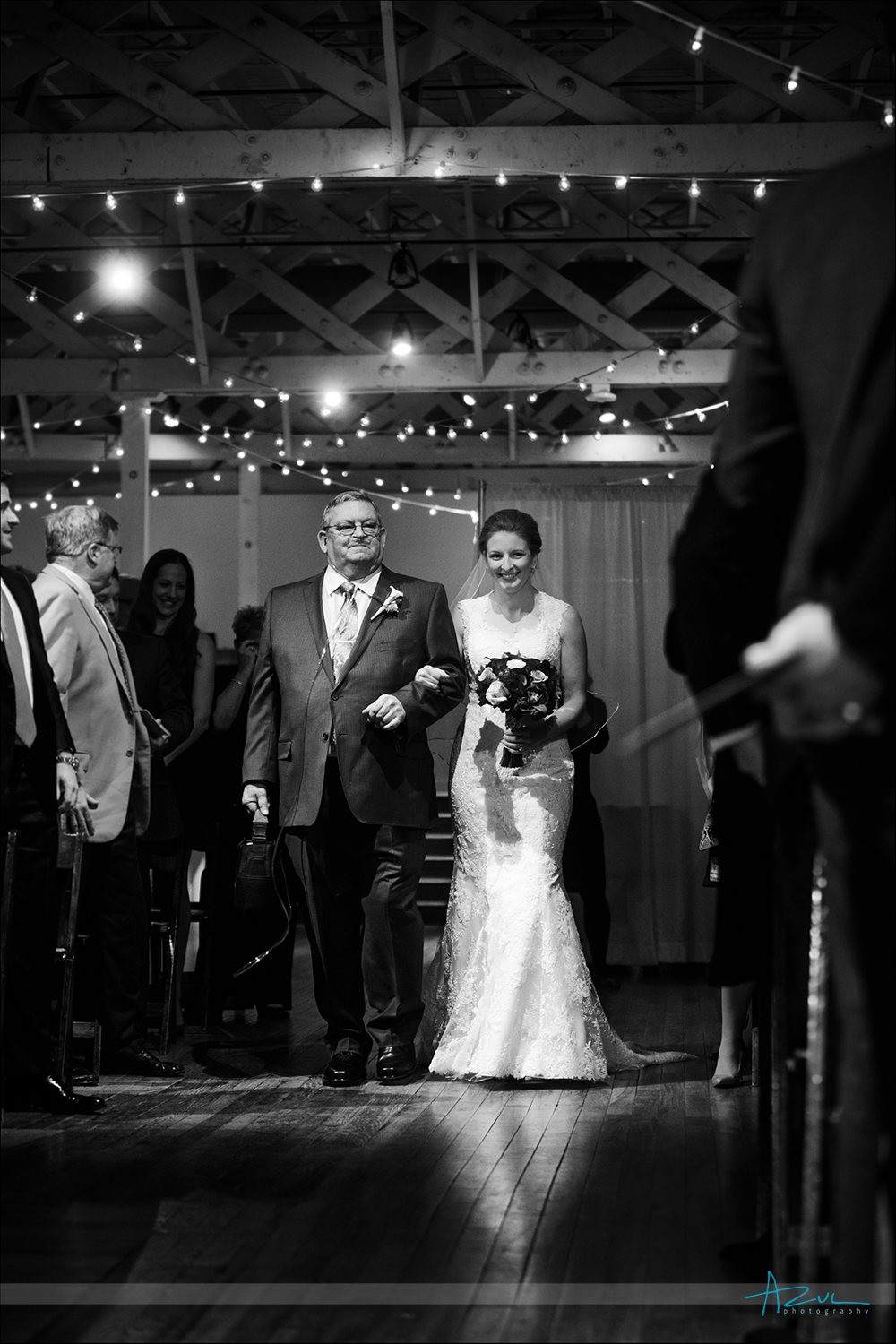 Proud wedding day image of dad walking down the aisle, Raleigh NC