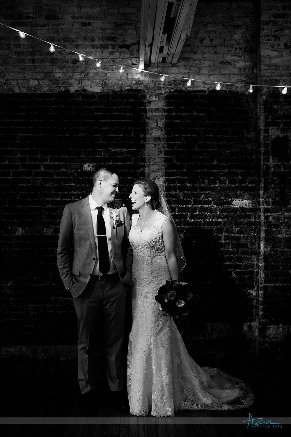 Wedding day portrait of B&G at The Stockroom in Raleigh