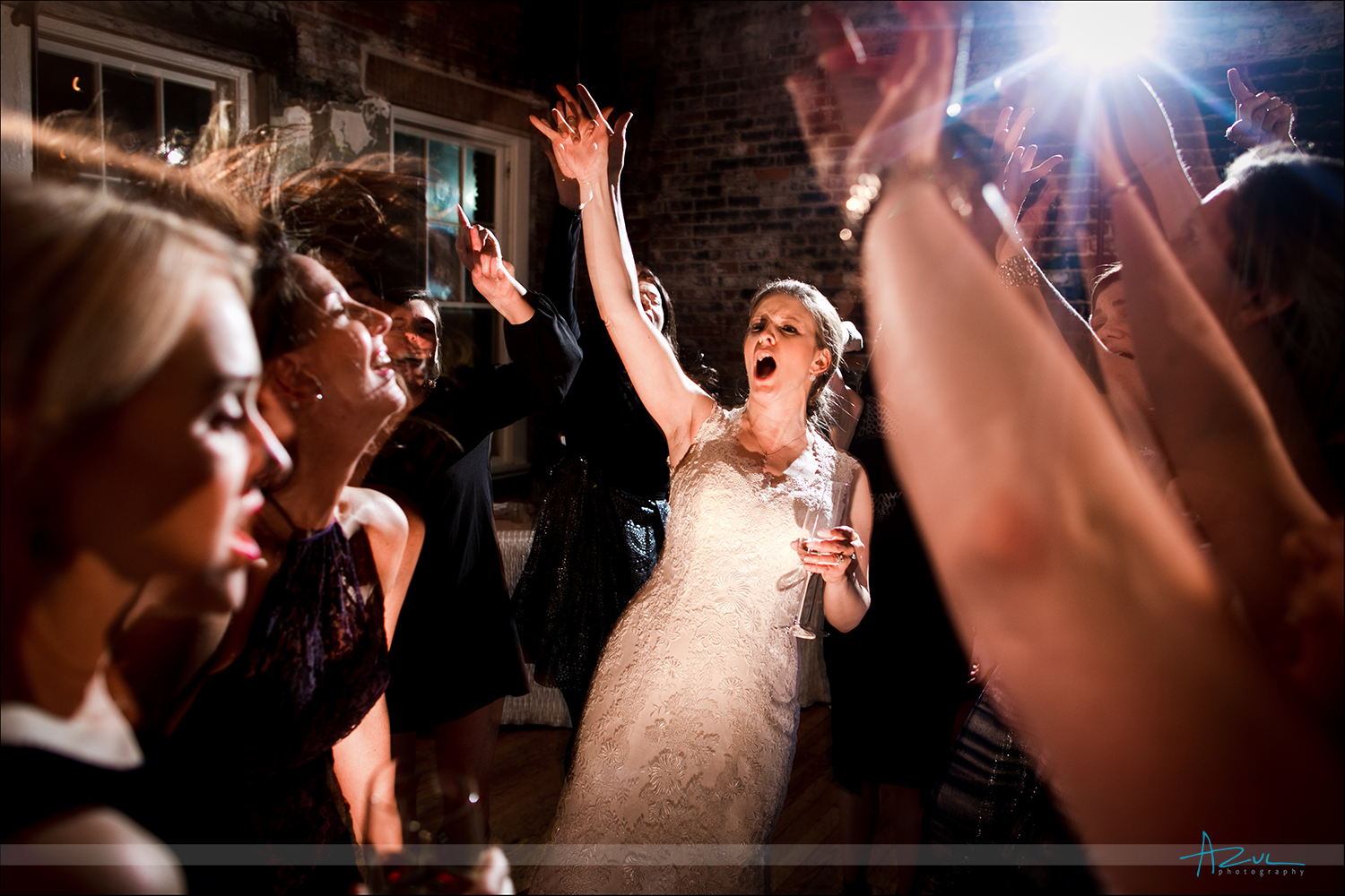 Dancing bride with bridesmaids singing Journey in Raleigh, North Carolina