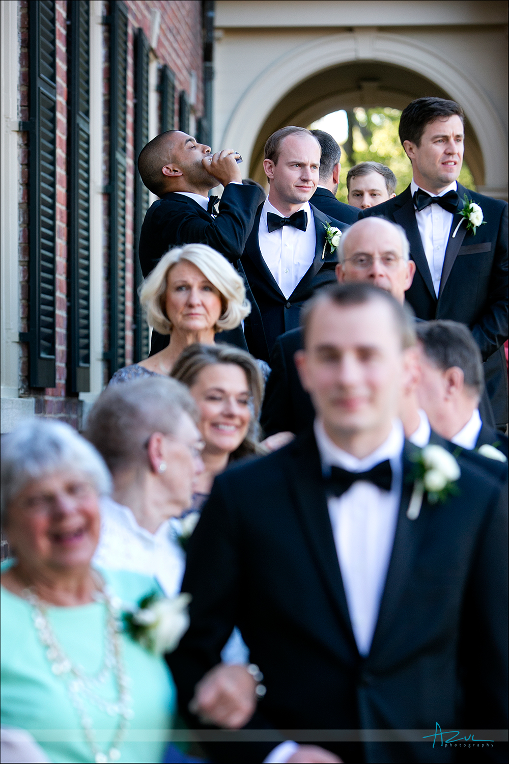 Wedding day jitters photography of best man in Chapel Hill, NC