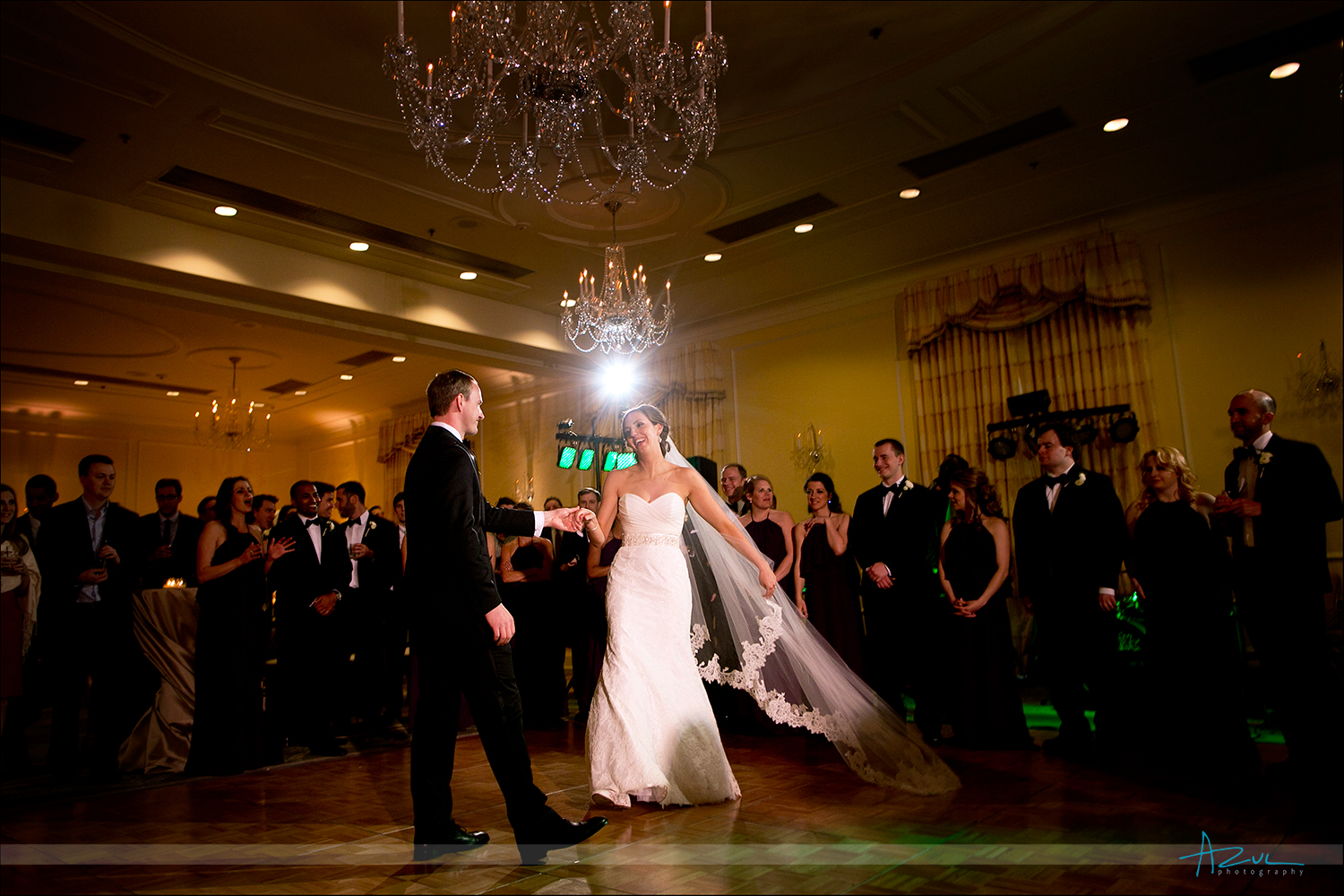Bride and groom's' first dance in the Hill Ballroom at The Carolina Inn