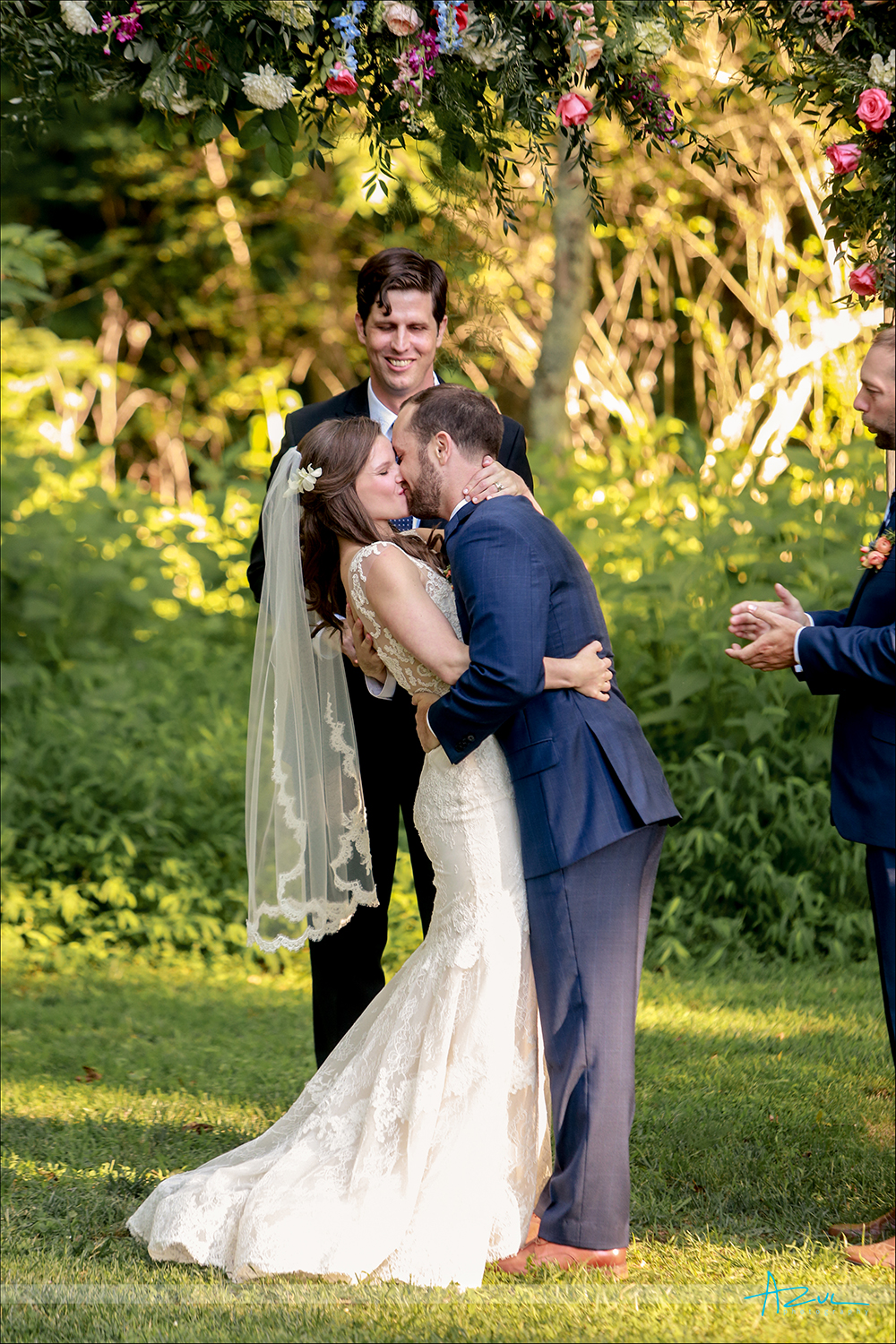 Beautiful light for outdoor wedding day ceremony photography in Chapel Hill, NC
