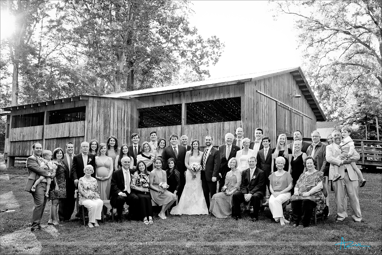 Classic wedding day family portrait photography in Chapel Hill, North Carolina