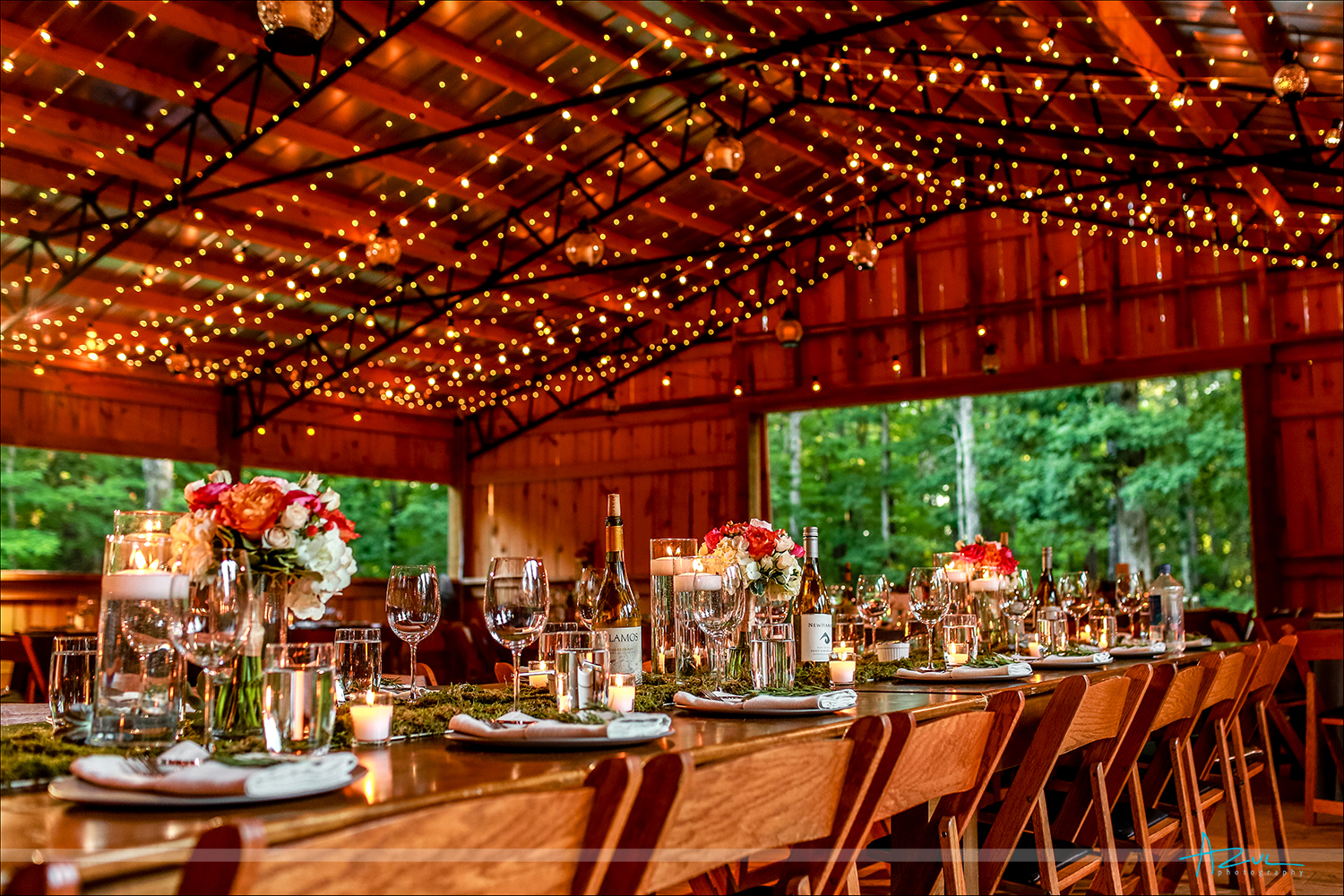 The English Garden florals brighten up the barn at Rock Quarry Farm in Chapel Hill. NC