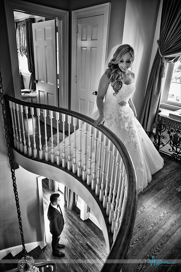 Bride sees groom before wedding. Photographer takes a documentary approach in Raleigh