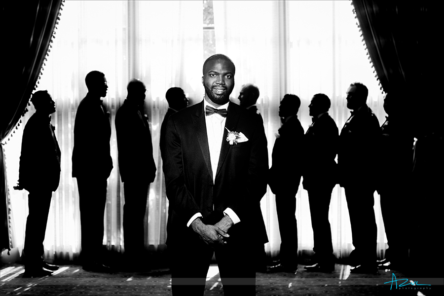 Wedding day photography portrait of the Groom at Prestonwood Country Club in Cary, NC