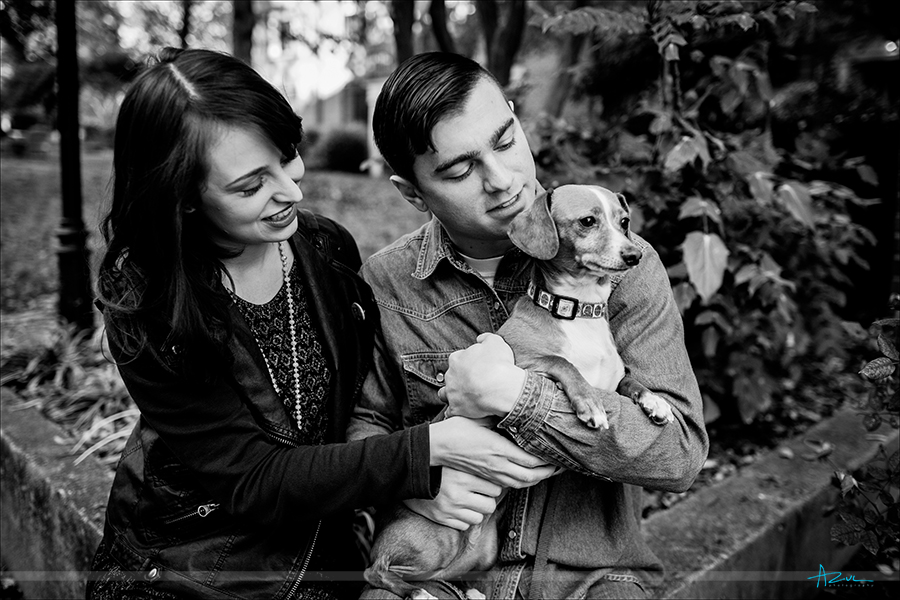 The wedding couple and their dog during the engagement portrait session in Raleigh, NC