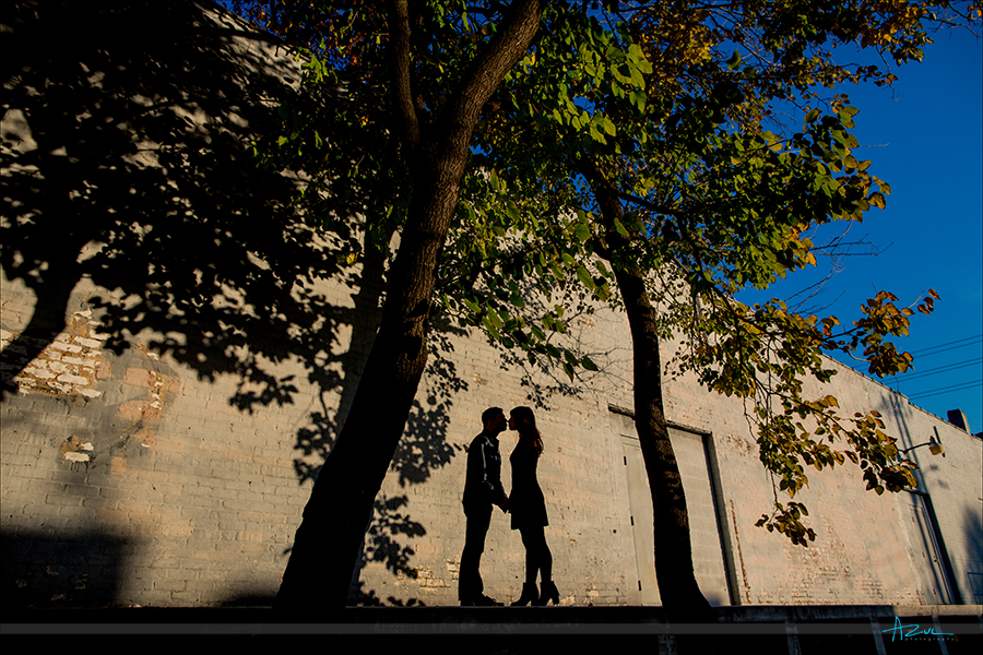 Raleigh wedding engagement portrait photographer shooting couple in downtown Raleigh, North Carolina