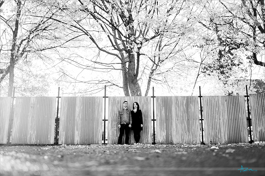 Creative engagement portrait photography in Raleigh of wedding couple.