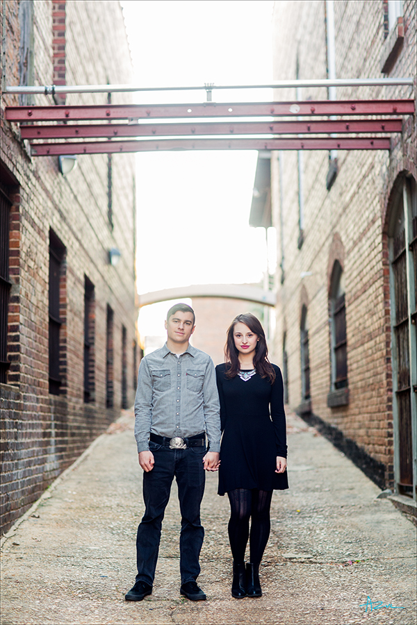 Engagement portrait photography of the couple in downtown Raleigh