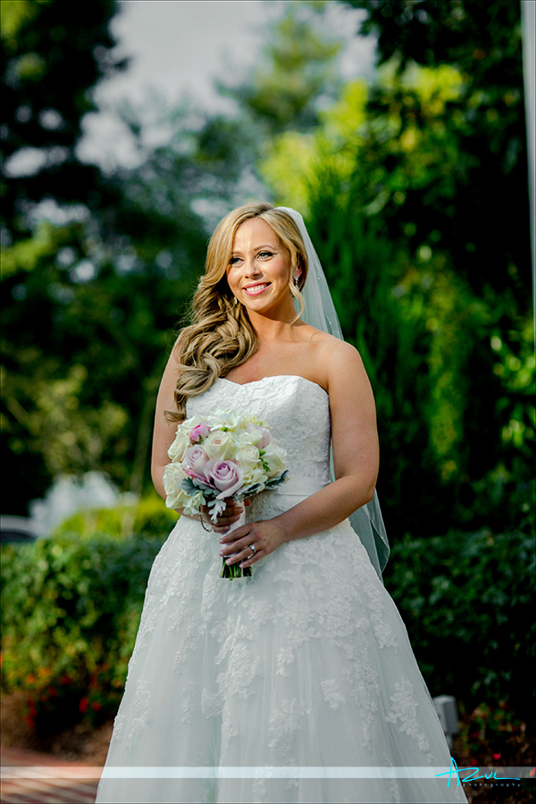 Beautiful bridal wedding day available light photography portrait on location at Highgrove Estate in Fuguay Varina, NC.