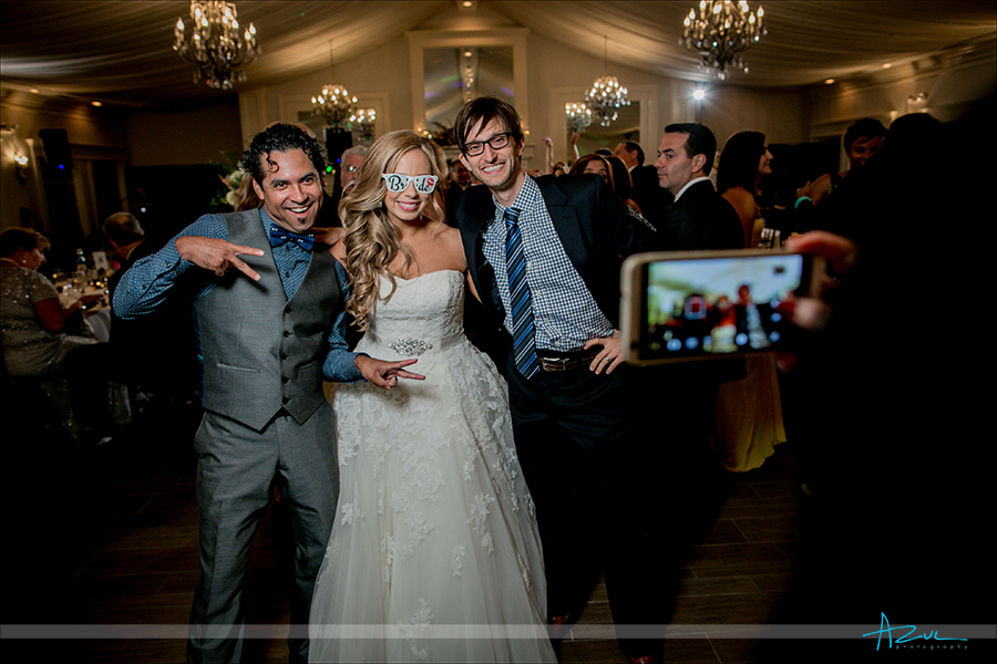 Custom wedding sunglasses were a hit at the reception for the bride and their guests at Highgrove Estate.