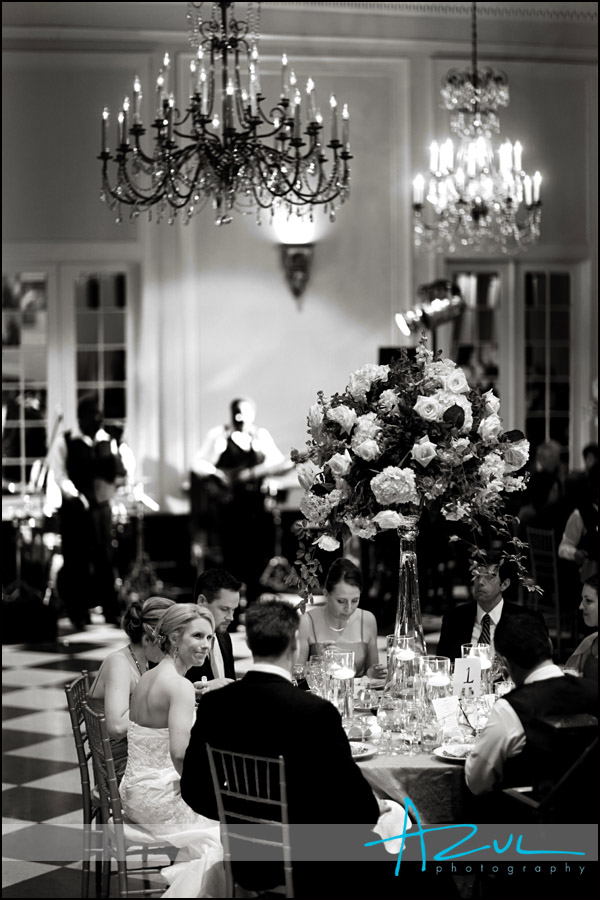 Photographer shoots vintage image of the old well ballroom during the reception.