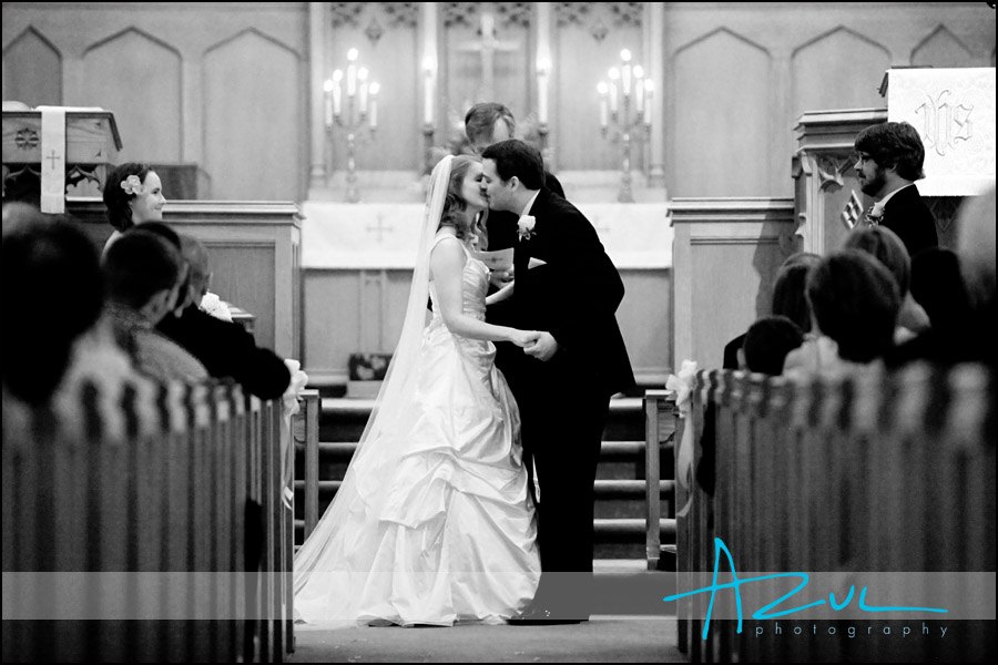 Wedding ceremony photography kiss in North Carolina