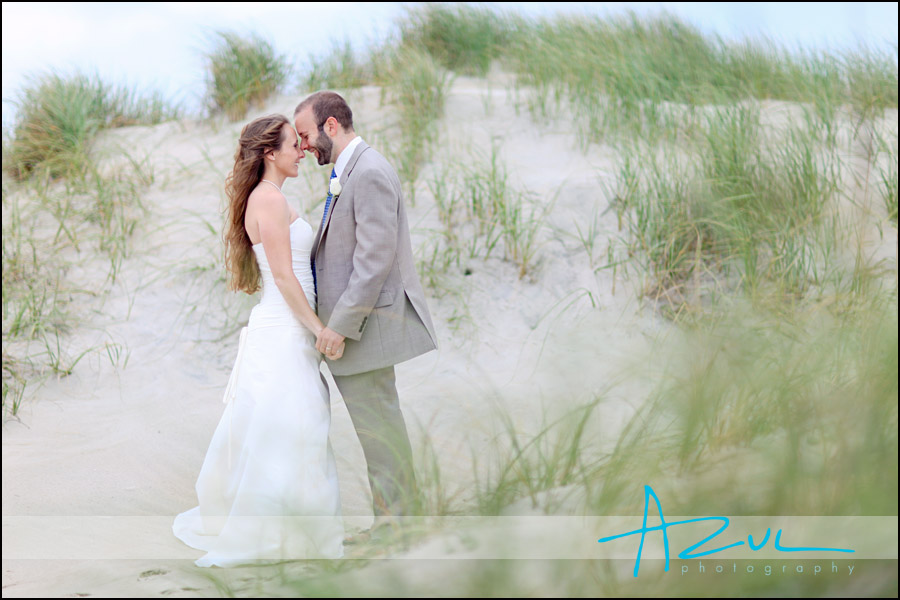 Ockracoke wedding portrait on the island in the Outer Banks.