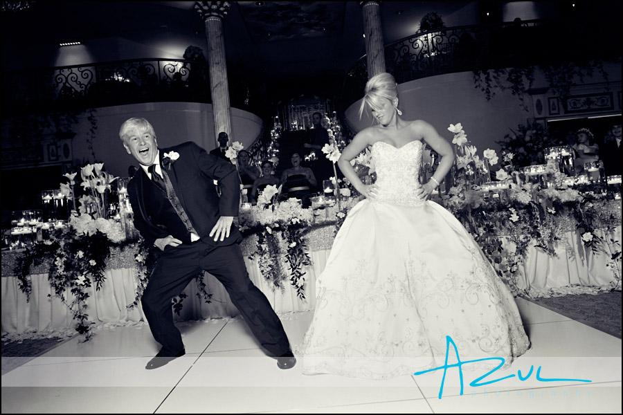 Wedding reception photograph in the ballroom
