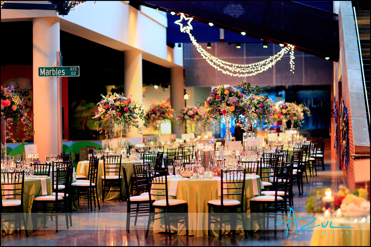 Marbles museum wedding reception decorations