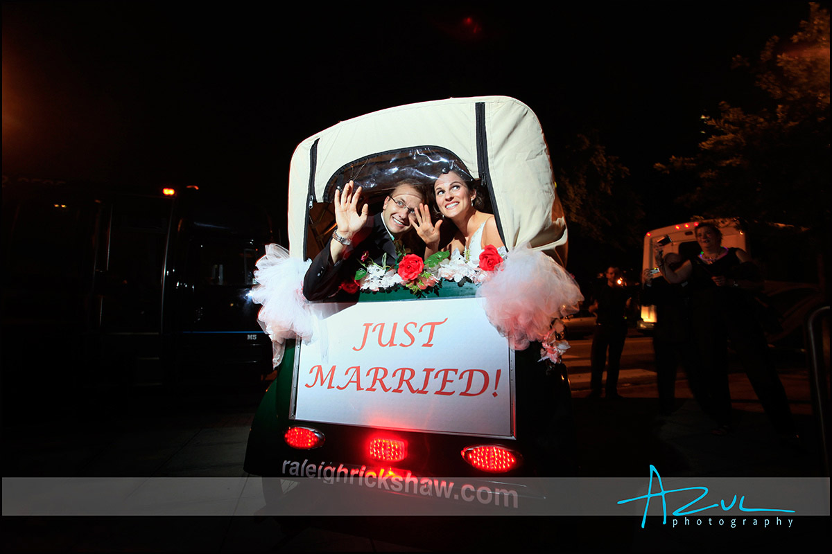 Raleigh rickshaw transports bride and groom