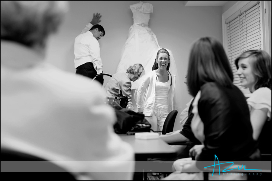 Bride at St. Mary's before the wedding ceremony in Raleigh.