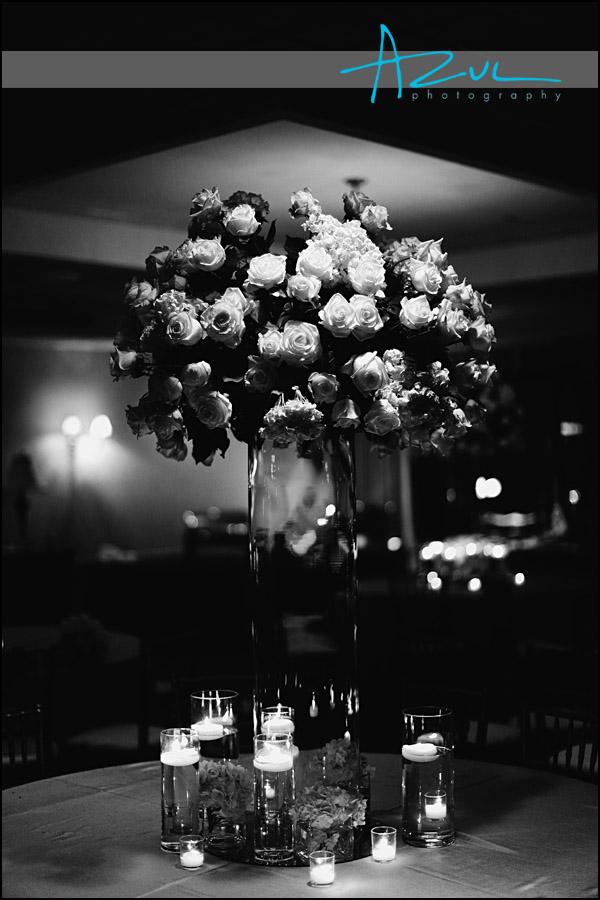 Fresh Affairs florist arrangement in downtown Raleigh wedding reception.