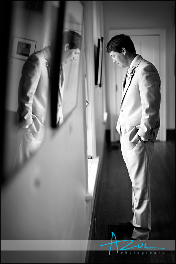Groom waits inside the Page Walker House befoer his cedding ceremony Cary NC