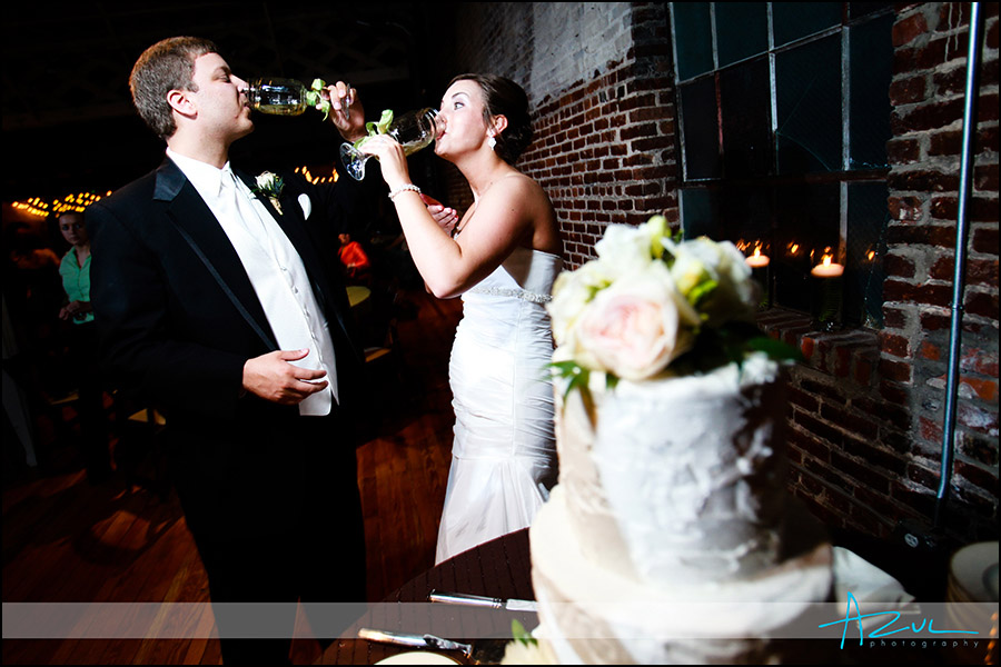 Photograph of wedding reception toasts in downtown Raleigh