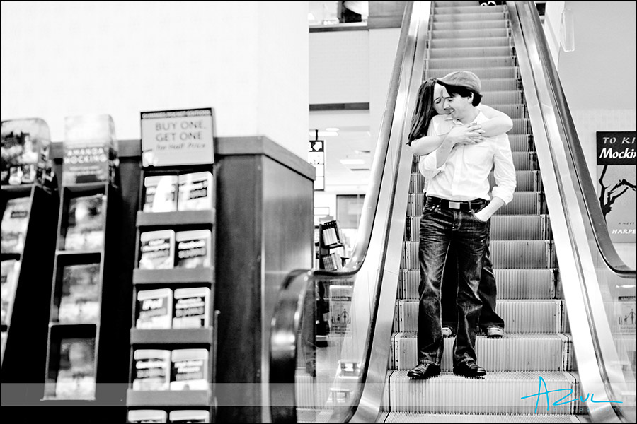 Portraits of the couple during engagement session Durham