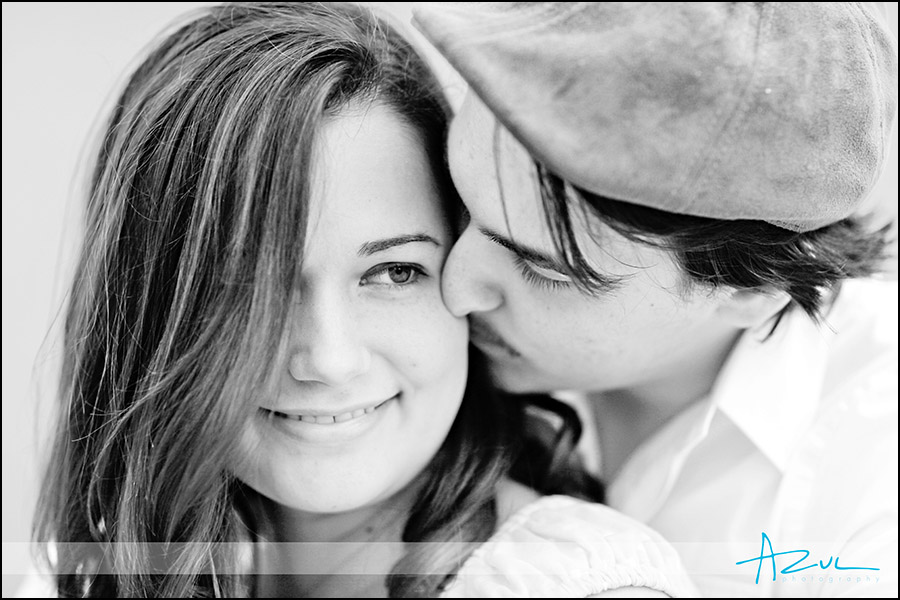 Kiss during the engagement photography session in Durham