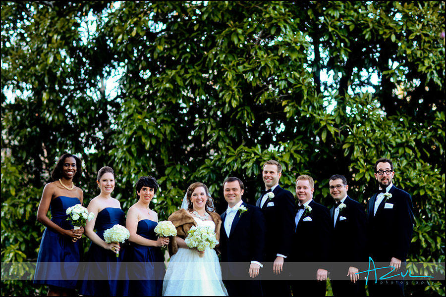 Unique portrait of the bridal party in Chapel Hill NC