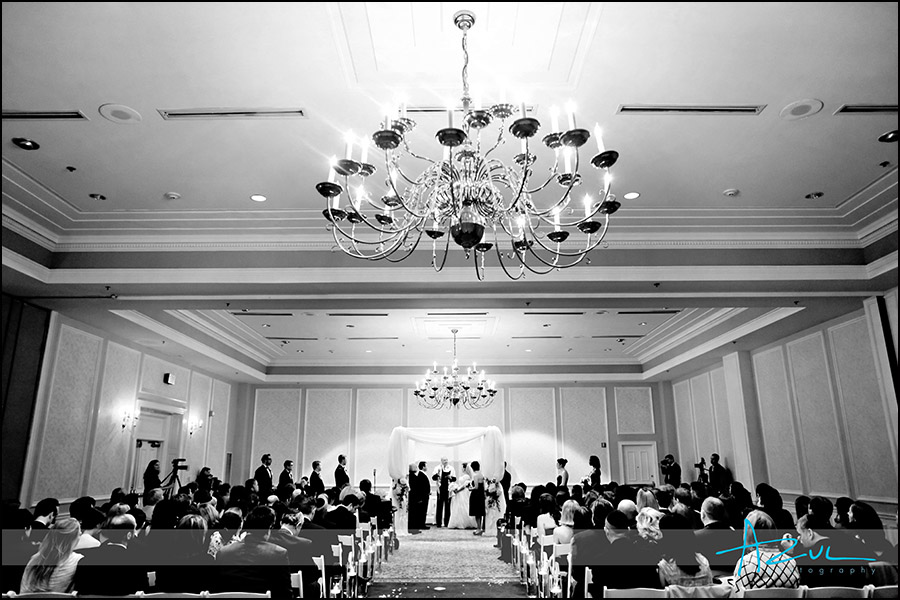 Interior shot of ceremony at the Carolina Inn NC