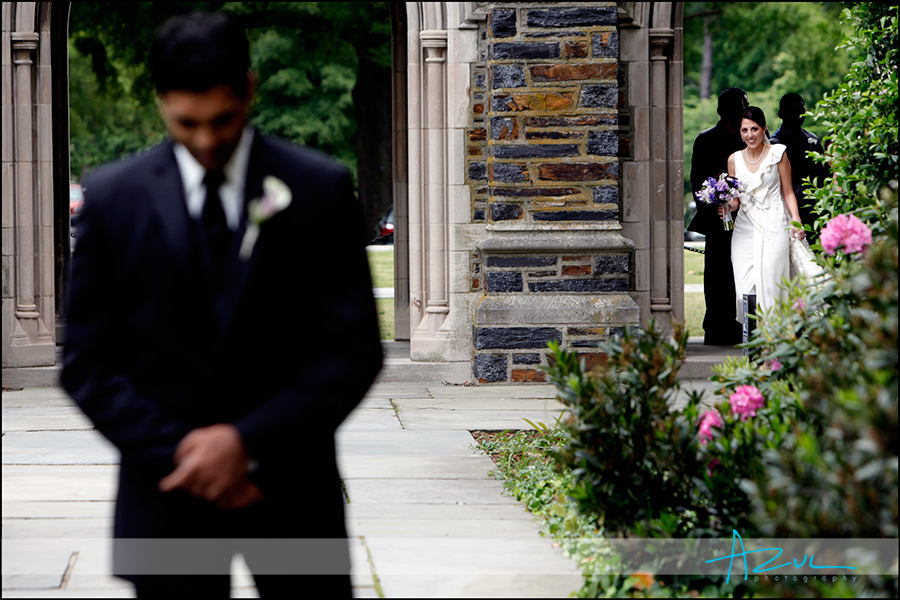 New wedding tradition of a first look at Duke Chapel Durham NC