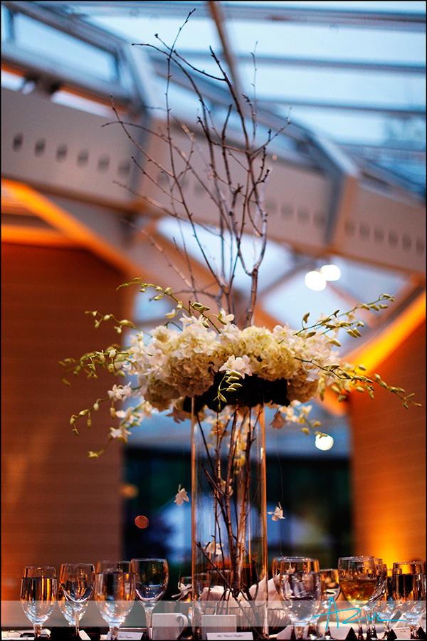 Wedding reception floral arrangement Durham NC