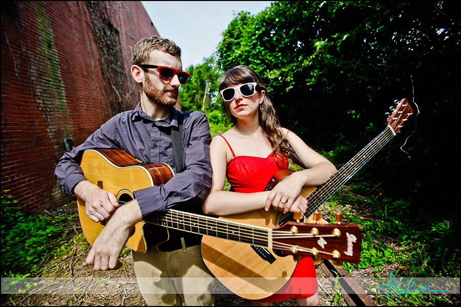 Engagement / band  portraits in downtown Raleigh's industraial area
