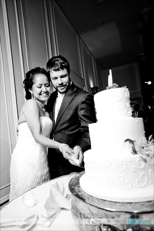 Perfect wedding day cake photograph at the Carolina Inn