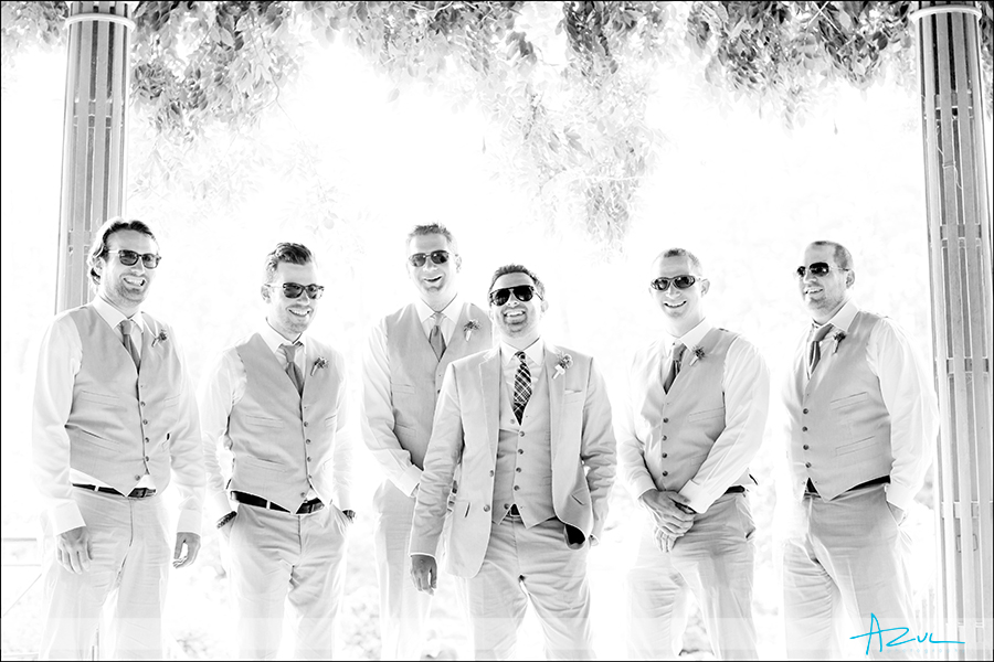 Creative portrait photography of groomsmen at Duke Gardens Durham NC