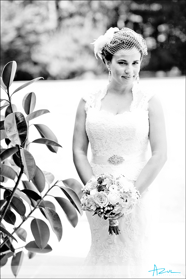 Creative bridal portrait at Duke Gardens NC