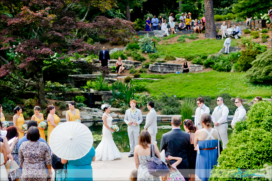 Wedding ceremony at Duke Gardens in Durham NC
